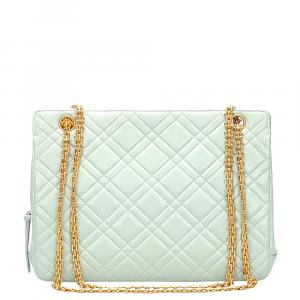 Chanel Blue Matelasse Leather Shoulder Bag