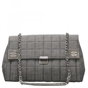Chanel Gray Choco Bar Denim Vintage Flap Bag