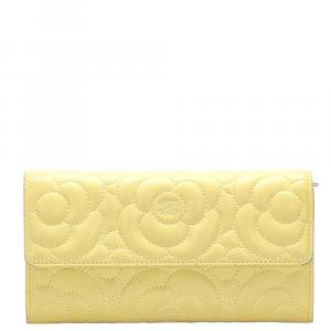 Chanel Yellow Lambskin Leather Camellia Flap Wallet
