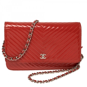 Chanel Red Chevron Patent Leather Classic WOC Clutch Bag