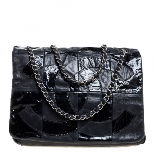 Chanel Black Patchwork Patent and Leather CC Brooklyn Flap Bag