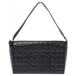 Chanel Black Choco Bar Quilted Leather CC Flap Bag