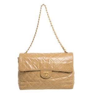 Chanel Beige Quilted Leather Vintage Jumbo Single Flap Shoulder Bag