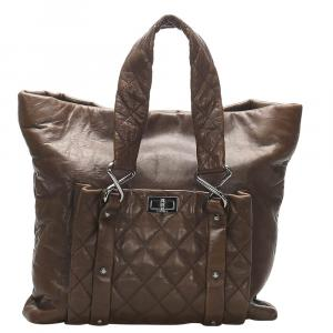 Chanel Brown Leather 8 Knots Tote Bag