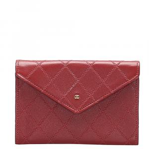 Chanel Red Leather CC Wild Stitch  Wallets