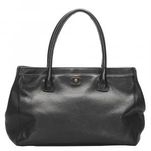 Chanel Black Leather Cerf Executive Tote Bag