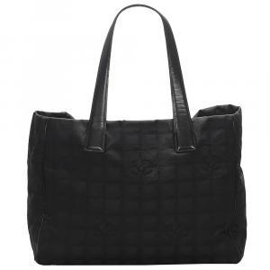 Chanel Black Nylon Travel Line Tote Bag