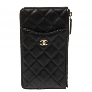Chanel Black Quilted Leather CC Multi Functional Zip Pouch