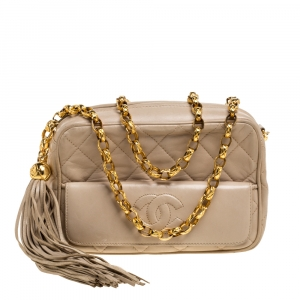 Chanel Beige Quilted Leather Vintage CC Tassel Camera Bag