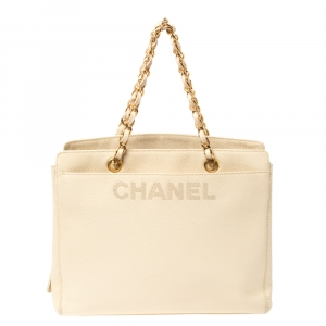Chanel Light Cream Caviar Leather Vintage Chain Tote