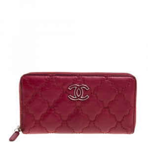 Chanel Red Ultimate Stitch Quilted Leather Zip Around Wallet