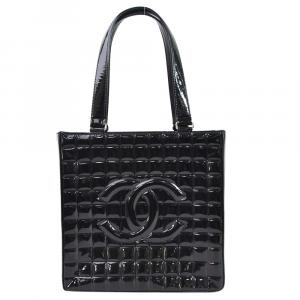 Chanel Black Patent Leather Choco Bar Tote Bag