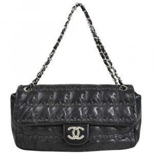 Chanel Black Lambskin Leather/Tweed Choco Bar Bag