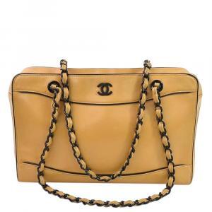 Chanel Beige Leather Vintage Resin Medium Bag
