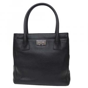 Chanel Black Leather Tall Cerf Tote Bag