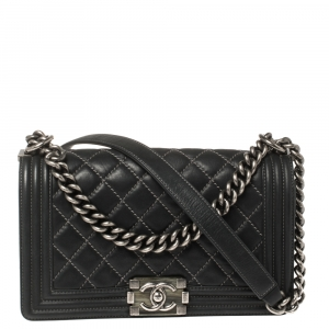 Chanel Black Quilted Leather and Nubuck Medium Wild Stitch Boy Flap Bag