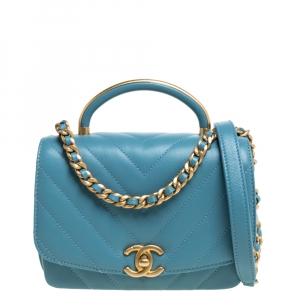 Chanel Light Blue Chevron Leather Small Top Handle Bag