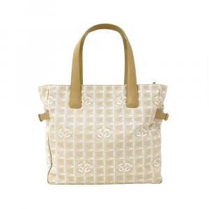 Chanel Beige Nylon Travel Line Tote Bag