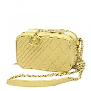 Chanel Yellow Leather Coco boy Camera Bag