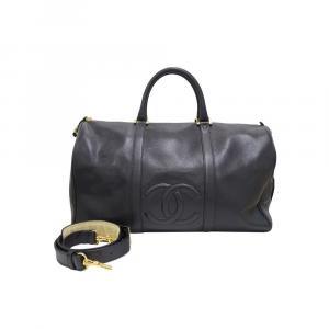 Chanel Black Caviar Leather Vintage Boston Bag