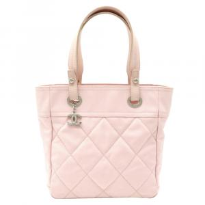 Chanel Pink Quilted Canvas Paris-Biarritz Tote Bag