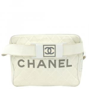 Chanel White Leather Sports Line Waist Bag