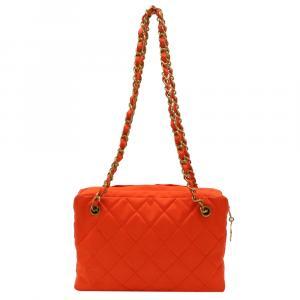 Chanel Orange Nylon Chain Bag