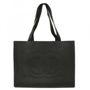 Chanel Black Leather Vintage CC Tote Bag