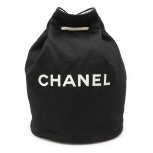 Chanel Black Canvas Drawstring Bucket Bag