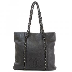 Chanel Black Leather Luxe Ligne tote bag