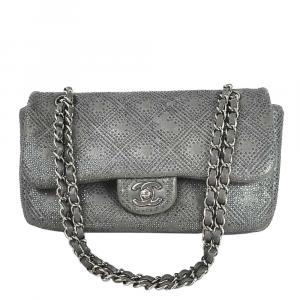 Chanel Metallic Leather Vintage Rhinestone Flap Bag