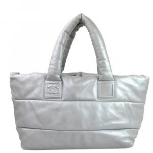 Chanel Silver Metallic Leather Coco Cocoon Reversible Tote Bag
