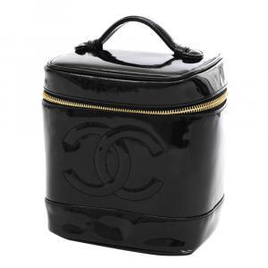 Chanel Black Patent Leather Vintage Vanity Case Bag