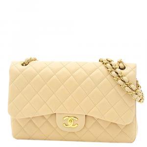 Chanel Yellow Caviar Leather Chanel Jumbo Double Flap Bag