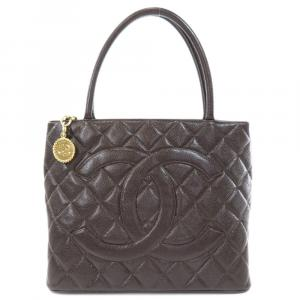 Chanel Brown Caviar Leather Medallion Tote Bag