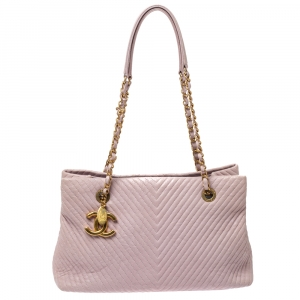 Chanel Pink Chevron Quilted Leather Medallion Charm Tote