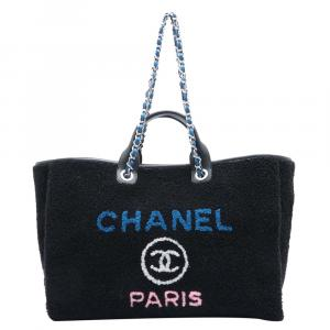 Chanel Black Shearling Deauville XL Tote Bag