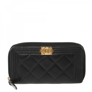 Chanel Black Quilted Leather Boy Zip Around Wallet