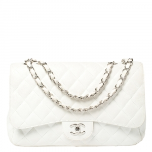 Chanel White Quilted Caviar Leather Jumbo Classic Single Flap Bag