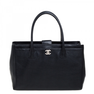 Chanel Black Leather Large Cerf Executive Tote