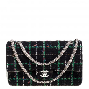 Chanel Silver/Black Quilted Leather and Tweed Medium Classic Double Flap Bag