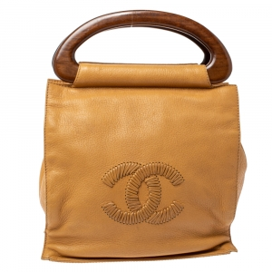 Chanel Tan Soft Grained Leather CC Wooden Handle Bag