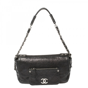Chanel Black Caviar Leather Pocket in the City Flap Bag