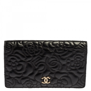 Chanel Black Quilted Leather CC Camellia 5 Flap Wallet
