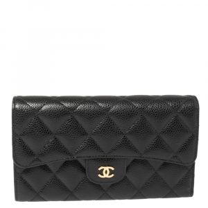 Chanel Black Quilted Caviar Leather Classic Flap Wallet