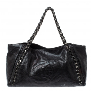 Chanel Black Leather Modern Chain East West Tote