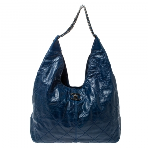 Chanel Blue Quilted Leather Coco Supple Hobo