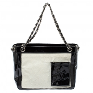 Chanel Black/White Patent Leather and Calfhair Runway Tote