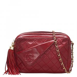 Chanel Red Quilted Leather Vintage CC Camera Bag