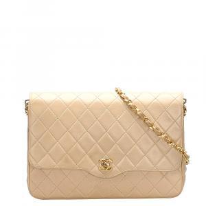 Chanel Beige Leather Vintage Single Flap Bag